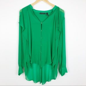 Black Label by Chico's Silk Green Button Up Top